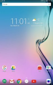 Samsung Galaxy Tab E default home page using Google Now Launcher