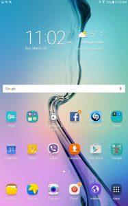 Samsung Galaxy Tab E default home page